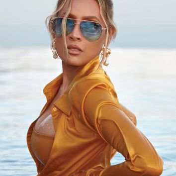Quay Australia - High Key Rimless Sunglasses - Gold/Turquoise Fade