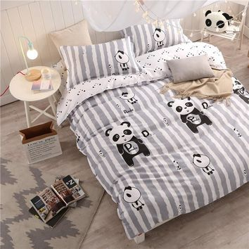 Lovely Panda Bedding set Black and White Duvet Cover Cartoon for children/kids full Queen 4pcs Bedclothes bed linen bed sheet