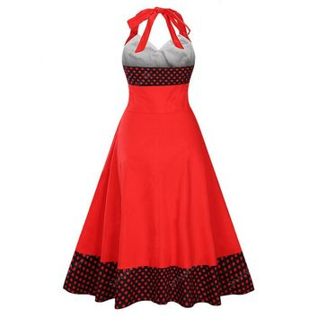 HimanJie Sexy dot Print Pin Up Dress Woman Vintage A-Line Sleeveless Bow large swing retro 50s Dresses Women 2017 Summer Dress