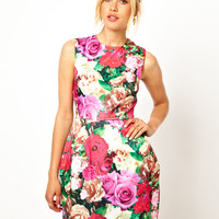 ASOS Structured Floral Tulip Dress - multi
