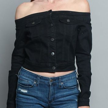 Off the Shoulder Denim Jacket RJK2046 - R4G