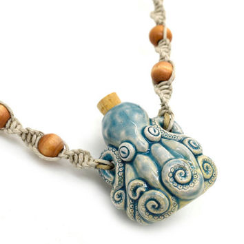 Octopus  Necklace, Clay Bottle, Hemp Necklace, Hemp Jewelry, Raku Bottle, Eco Jewelry
