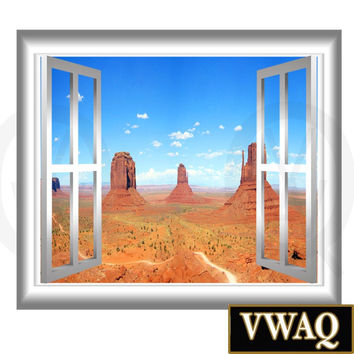 Southwest Mountain View Scene Wall Decal Peel and Stick 3D Wallscape Window Frame Sticker Peel And Stick Decor VWAQ® GJ99