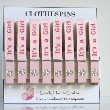 Wood Clothes Pin, Baby Shower Favors, It's a Girl
