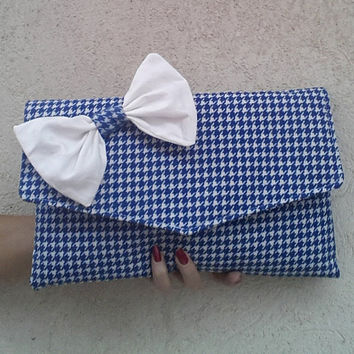 houndstooth clutch, blue and white clutch bag, clutch with bow, pochette, italian handmade clutch, pied de poule, envelope clutch