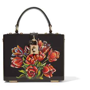 Dolce & Gabbana - Leather-trimmed painted wood clutch