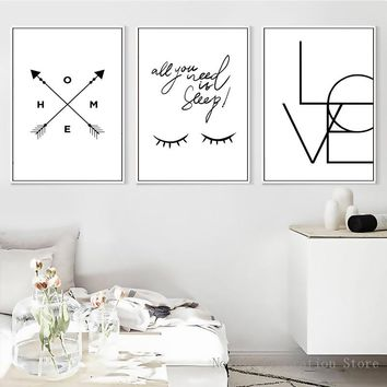 Poster Nordic Eyes Black And White Posters And Prints Love Letter Poster Wall Art Canvas Painting Art Print Pictures Unframed