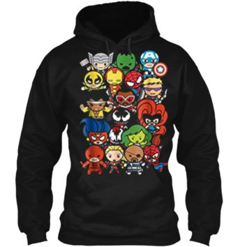 Marvel Heroes And Villains Team Kawaii Graphic  Pullover Hoodie 8 oz