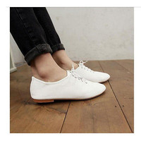 NEW Women White Shoes Vintage Flats Heels Classics Lace Ups Dress Dress Oxfords