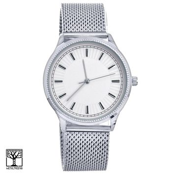 Jewelry Kay style Men's Women's Fashion Silver Plated Metal Mesh Band Unisex Watches WM 15188 S