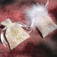 Air Freshener Sachet, Designer Large Cross or Feathers, Choice of Scents, Room Air Freshener, Organza Bag Drawer Sachet, Aromatherapy