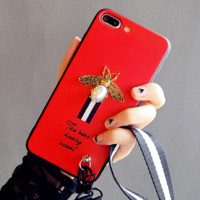 Gucci : [ With lanyard ]print phone shell phone case for Iphone 6/6s/6p/7p/7/8/8p/X