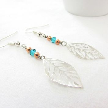 Silver Leaf Earrings, Leaf Dangle Earrings, Copper and Silver Earrings