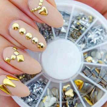 300 pcs/ set Free shipping 6 styles silver / 3D shiny metallic luster Nail decoration wheel round stickers area punk rivet studs