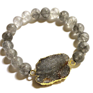 Stretch bracelet, Druzy stone, Bohemian, 14K gold plated agate, Handcrafted, Agate beads, Rustic, Crystal, Birthday gift, wedding gift