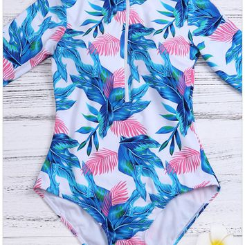 Large size swimsuit print zipper round neck short sleeve high waist one-piece swimsuit