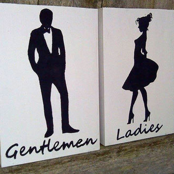 Ladies and Gentlemen - Restroom Facility Signs - Reclaimed Wood