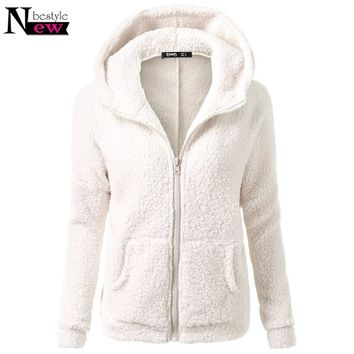 Winter Autumn Fleece Warm Jacket Casual Hooded Sweatshirt Women Soft Lambswool Hoodies Coat Women Tracksuit Harajuku Streetwear