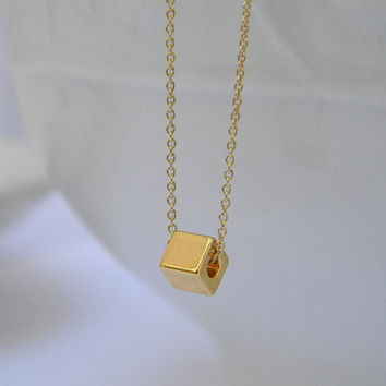 Layering Necklace / Dainty, Simple Tiny Square Necklace /14 Karat Gold-Fill /  Delicate, Simple Necklace / Everyday Necklace / Gift