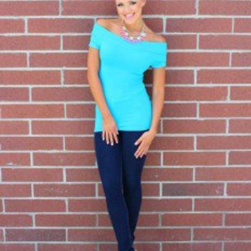 Cap Sleeve Off The Shoulder Top Turquoise