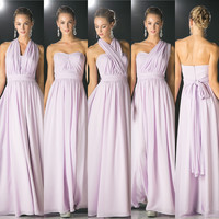 Affordable Versatile Floor Length Convertible Bridesmaid Dress in Lilac and sky blue XS - 3XL