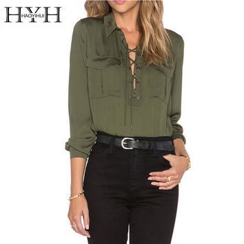 HYH HAOYIHUI 2016 Brand New Summer Fashion Ladies Office Shirts Lace Top Long Sleeve Designer Tops Army Green Formal Shirts