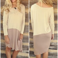 Sunrise To Sunset Tan & Taupe Color Block Long Sleeve Dress With Hi-Low Hem