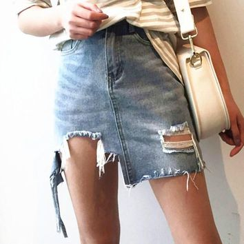Fashion Sexy Personality Irregular Tassel Hole Blue High Waist Cowboy Short Skirt