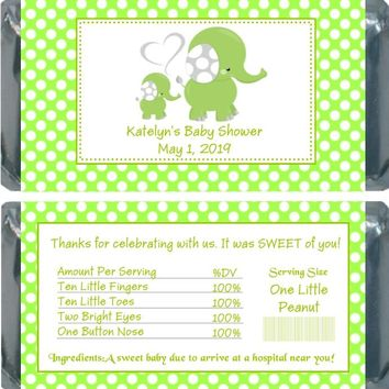 10 Green Polka Dot Elephant Baby Shower Chocolate Bar Wrappers