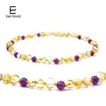 EAST WORLD Amber Teething Necklace Baby Jewelry Baltic Natural Amber Beads 5mm Amethyst Collar Gifts Kids Necklace