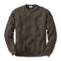 Cable Knit Crew Neck Sweater / Black Sheep Irish Fisherman's Sweater -- Orvis