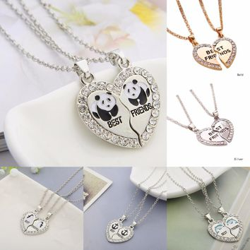 2PC/Set Dolphin Panda Animal Necklaces Love Crystal Heart Pendant Charm Chain Best Friend BFF Gifts Necklace Friendship Jewelry