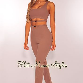 Mocha Cut Out Gold Buckle High Waist Two Piece Set