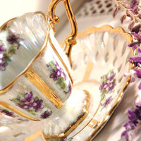 Royal Sealy  Lustreware Footed Violets and Gilt Tea by DadsTeacups