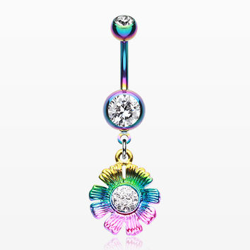 Colorline Rainbow Sparkle Flower Belly Button Ring