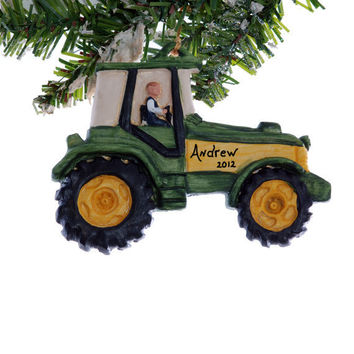 Personalized tractor ornament - green tractor Christmas ornament personalized free