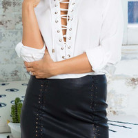 Cupshe Busy Cowboy Lace Up Blouse