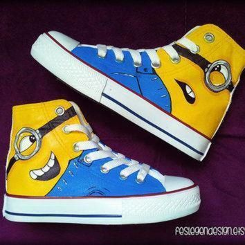 DCCK1IN minions despicable me custom converse painted shoes