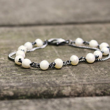 Freshwater Pearl Bracelet Layered with Gunmetal Chain