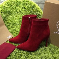 DCCK2 Sale Christian Louboutin CL Top Suede Ankle Boot Red