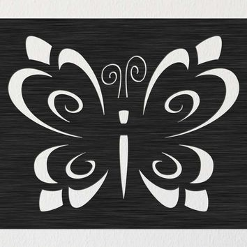 Butterfly Template Ornaments Wall Decor Free DXF File