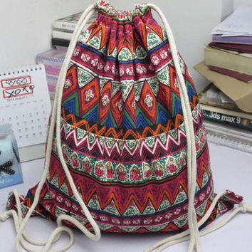 japan Backpack designer ladies Gypsy Bohemian Boho Chic harajuku school Bag Ethnic mochilas Drawstring Backpack Vintage bagpack