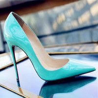 Women Shoes Beige and Red Bottom High Heels Sexy Pointed Toe Red Sole Wedding Shoes Chaussure Escarpins Semelle Rouge
