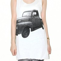 Classic Truck Car White Tank Top Singlet Tee Indie Rock Shirt Size M