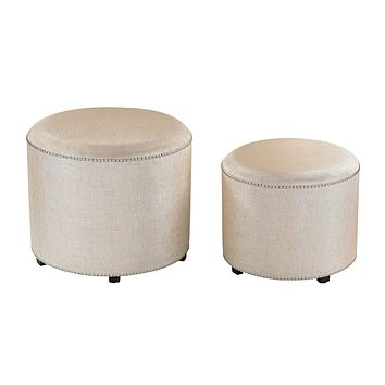 Cream Metallic Linen Ottoman - Set of 2