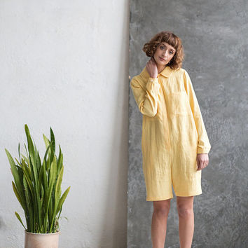 Linen Playsuit - Yellow Linen Jumpsuit - Women Playsuit - Long Sleeve Jumpsuit -  Handmade by OffOn