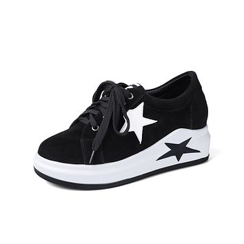 Genuine Leather Lace Up Platform Wedges Sneakers Shoes for Women 6403