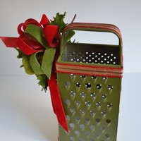 Green, Vintage Cheese Grater with Vintage Holiday Decorations.