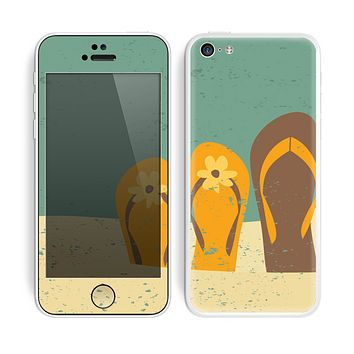 The Vintage His & Her Flip Flops Beach Scene Skin for the Apple iPhone 5c