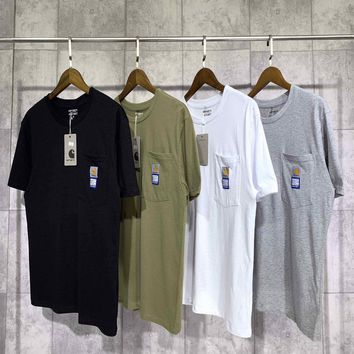 Hcxx 19June 195 PACCBET×CARHARTT WIP 19SS Double printed collar logo T-Shirts